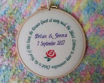 Wedding gift embroidery hoop