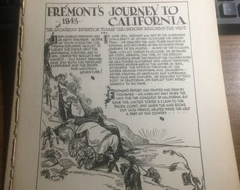 Freemonts journey  to California 1846. 1933 book page history print illustration . Art frameable history