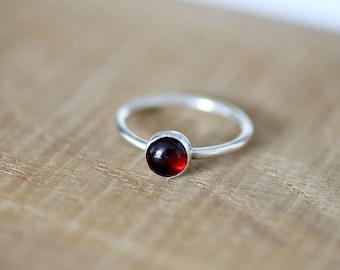 Garnet Gemstone Ring, Birthstone Ring, January Birthstone, Stacking Ring