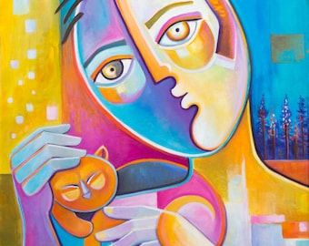 Original Cubist Oil painting Modern Abstract Art Marlina Vera CAT LOVER Picasso Style Expressionism Pop artwork Fauvism cubism boy man