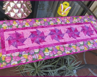 Quilted Table Runner, Kitchen Decor, Table Decor, Easter Egg, Purple Pink Yellow 681