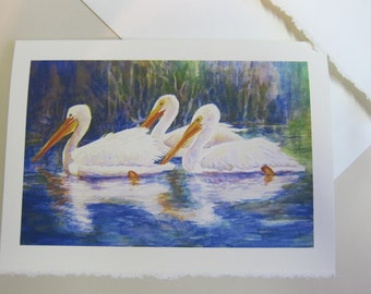 White Pelicans 5 x 7 note card print of original watercolor painting Florida migrating birds
