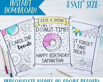 "Donut Birthday Party Coloring Sheets / Birthday Party Activity / Personalized / Coloring Page / Kid's / Doughnut / Sprinkles / 8.5x11"" PDF"