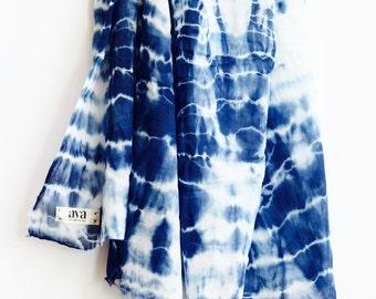 Shibori Indigo Scarf, Shibori  cotton Scarf, Blue cotton Scarf, XL Cotton voile scarf, Hand Dyed Scarf, Cotton Scarf