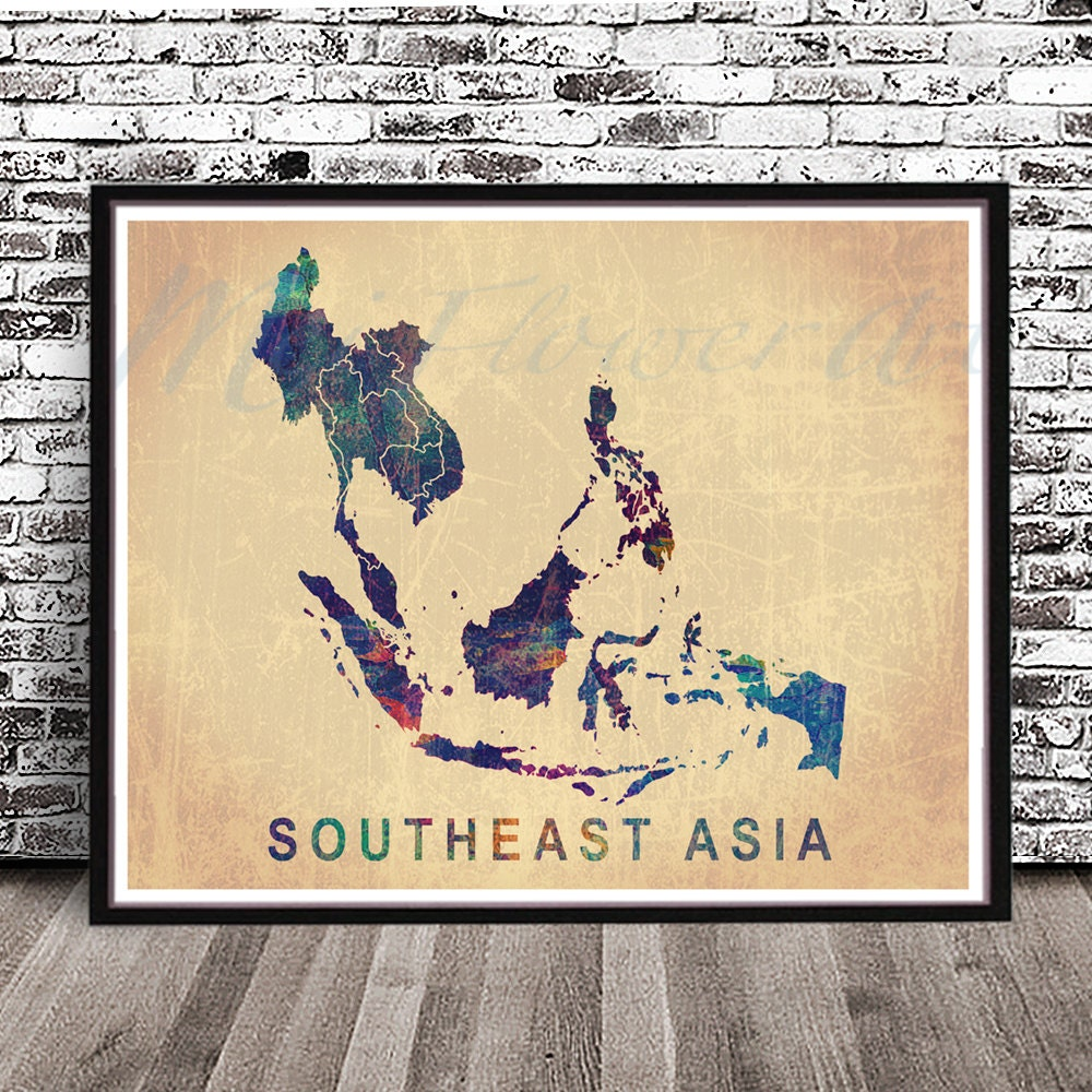Vintage Southeast Asia map watercolor styled PRINT