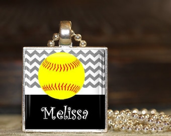 1 Personalized Silver Chevron Softball Pendant Necklace 15 Color Choices team softball team gifts varsity jv high school middle school