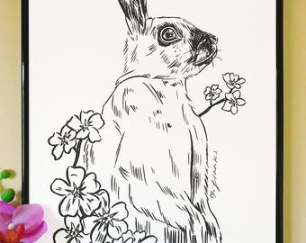 Rabbit and Forget Me Not Art Print