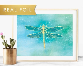 Blue Green Dragonfly Painting with Real Gold Foil Wall Art Print