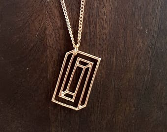 Geometric necklace, rectangle necklace, layered necklace, geek necklace