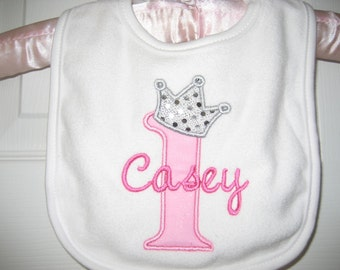 Baby girl princess bib, birthday bib, girls bib