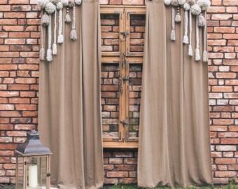 Pompom curtain, Linen Curtain,Macrame Curtain, Pompoms, Boho Chic Curtain, Boho Window Curtains, Hippie Boho Curtains, Vintage Chic Curtains