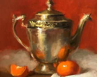 Original oil painting Small still life painting Still life fruit Metal pitcher and tangerine Kitchen artwork Home decor. Framed art