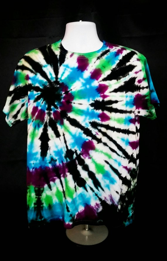 Hand Dyed Blue, Green, Raspberry & Black Offset Spiral Adult Tie Dye