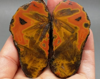 Pair of Rough(Unpolished)Agate Nodule Specimen /Chinese Fighting Blood Agate/For Jewelry Making & Collecting  Xuanhua Hebei China XH-106