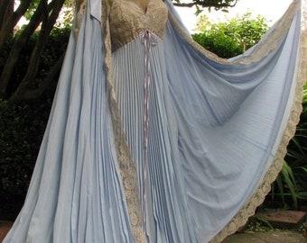 Goodbye Rain Sale Extraordinary 1970's Vintage Lucie Ann Periwinkle Blue Pleated Peignoir Set