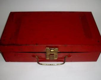 Vintage Red Tool Box Utility Box Craft Box