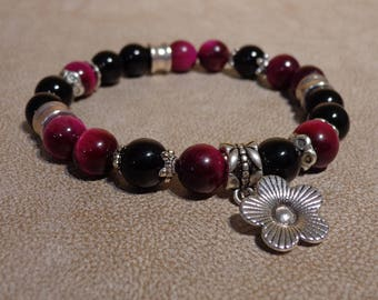 Bracelet - Œil plum Tiger and black agate 8 mm flower and silver metal beads.