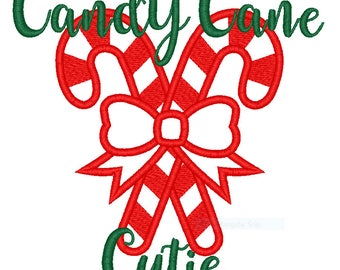 Candy cane cutie embroidery applique pattern 4x4 5x7 6x10 Christmas Santa Digital Download