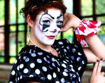 Clown Collar, Clown Costume, Circus Costume, Black and White, Polka Dot, Halloween Costume, High Fashion, Scary Clown, Party Clown