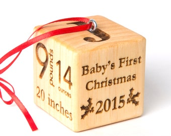"""2"""" baby block Christmas Ornament. Personalized baby block with baby stats and first christmas. Wood block ornament. Baby's First Christmas"""