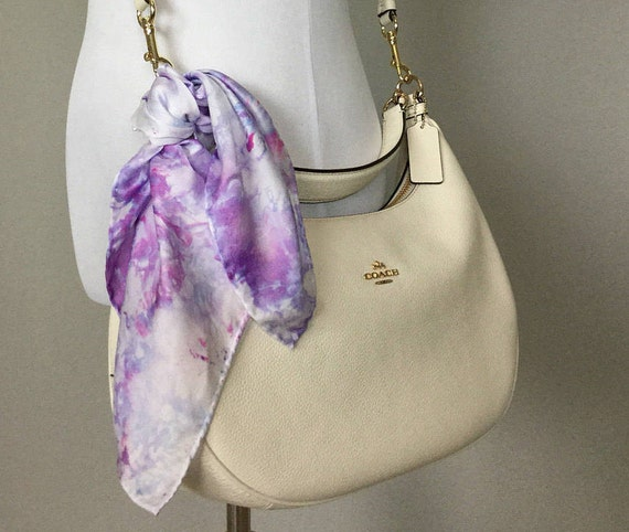 Mother's Day Gift! Spring Purse Scarf, 100% Silk, Pastel Purple Lavender 17""