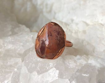 River Stone Electroformed Ring- Size 8