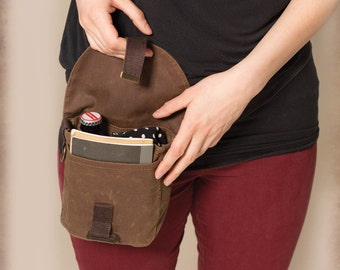 Brown waxed canvas hip pouch. Brown fanny pack. U-Lock holster.