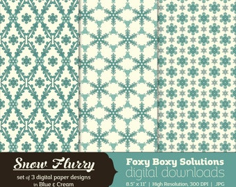 Snow Flurry: Snowflake Pattern Digital Papers, set of 3 in Blue & Cream