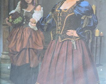 Dress Gown Medieval Renaissance Historic Costume Stage Play Simplicity 8249 Pattern Sz. 18W - 24W