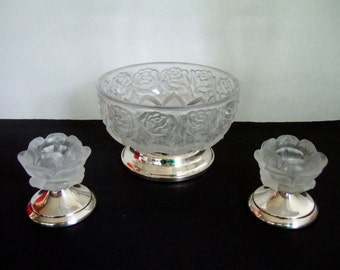 Vintage Frosted Crystal Glass Bowl & Candle Holders William Adams Embossed Roses Silver Pedestal Bases West Germany Elegant Gifts under 50