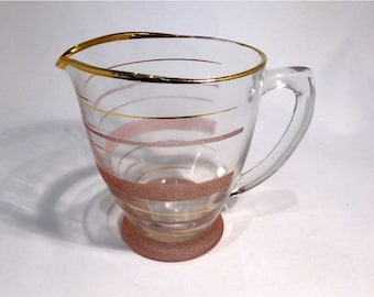 25% off Vintage pink & gold glass jug – original from the 1970's