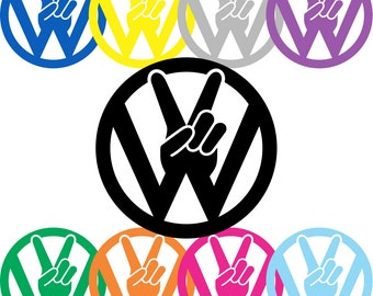 Peace VW Decal | Volkswagen Sticker | Bug Decal | Dub Decal | VW Bus | GTI Golf | Euro | Heart | Volkswagen Peace Sign