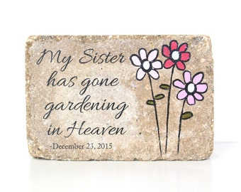 Personalized Memorial Stone for Sister / 6x9 Home or Garden Decor / Indoor or Outdoor Sympathy Gift/ 6x9 Concrete Rustic Decor