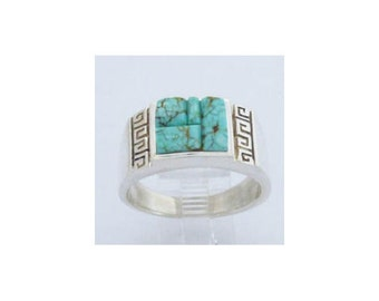 Turquoise Sterling Silver Ring Size 12 Navajo Native American Thomas Francisco Free Shipping Made in the USA