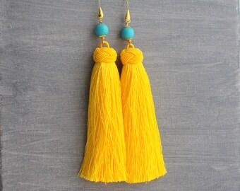 Tassel Earrings - Yellow Tassel Earrings - Tassle Earrings - Long Tassel Earrings - Turquoise Earrings - Festival Earrings - Boho Earrings
