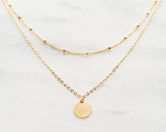 Gold Layered Necklace / Gold Coin Necklace / Satellite Chain Necklace / Gold Satellite Necklace / Bohemian Necklace / Bridesmaid Necklace