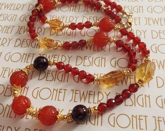 Carnelian Citrine and Garnet Necklace (Making My Way Home Take II) by Gonet Jewelry Design