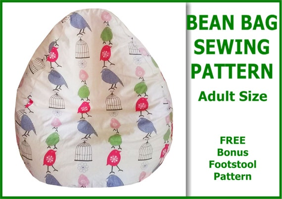 Adult Bean Bag Sewing Pattern with FREE bonus Foot Stool Cushion ...