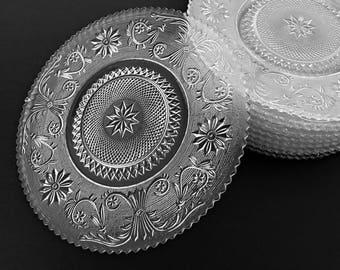 "Duncan Miller Sandwich Glass Dinner Plates 9.5"" Vintage Glass Plates"