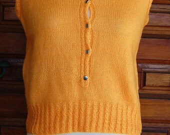 Vintage 60s Pumpkin Knitted Vest with metal buttons