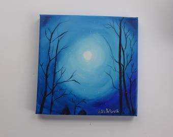 Through the Trees, Original Acrylic on Canvas 20x20cm, Wall Art,  Moonlight, Christmas Gift, Wall Decor, Original Art
