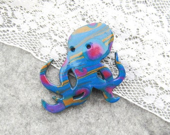 Octopus polimer clay brooch