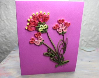 Greeting card, wish card, quilled card, dark pink card, blank card, orange quilled flowers, quilling