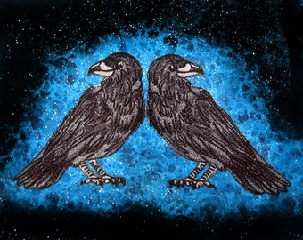 Raven Crow  Pair Black Bird  Iron ON Patch 100% embroidery