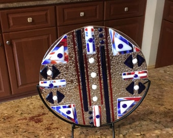 Red, White & Blue Art Deco Style Fused Glass Circle, Unique Glass Art, Hostess Gift