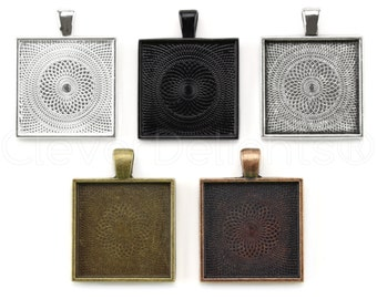 "10 - 1"" Square Pendant Trays - Vintage Style - Antique Bronze Copper Silver Colors - Pendant Blanks Bezel Settings Mix 25mm 1 Inch"