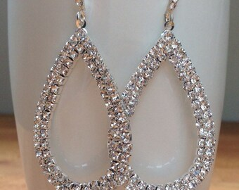 Large silver plated crystal teardrop bridal earrings