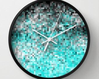 Clock, Aqua & Gray Pixels Clock, Aqua Clock, Aqua and Gray Clock,  Turquoise Gray Clock, Aqua Home Decor, Kitchen Clock