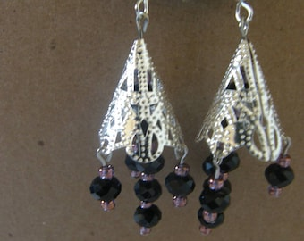 Silver dangle earrings with Crystal and glass beads.