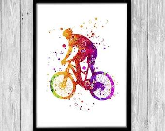 Mountain Bike Poster, Mountain Bike Art Print, Mountain Bike Watercolor Print, Mountain Biking, Road Bike, Llife Behind Bars, mountain biker